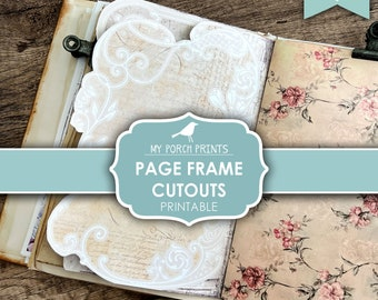 Junk Journal, Page Frame Cutouts, Insert, Decorative Design, Paper, Neutral, Victorian, Elvish, My Porch Prints, Digital Download, Printable