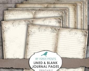 Lined & Blank Journal Pages, Junk Journal, Junk Journal Kit, Printable Paper, Book, Digital Kit, Ephemera, My Porch Print, Vintage, Download