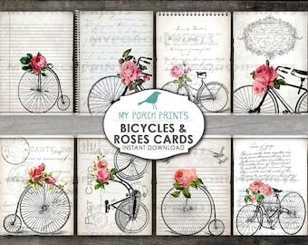 Bicycles and Roses Note Card, Scrapbook, Valentine, junk journal kit, handwriting, antique bike, ephemera, tag, paper, printable, vintage