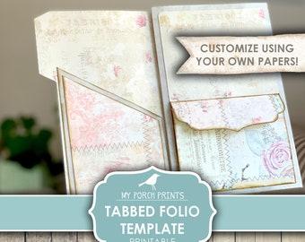 Tabbed Folio Template, Junk Journal, Vintage, Pocket, Folder, Craft Kit, Ephemera, My Porch Prints, Insert, Digital Kit, Download, Printable