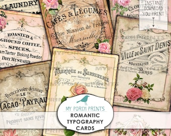Romantic Typography Cards, French, Rose, ATC, Valentine, tag, collage sheet, download, Digital, Junk Journal, vintage, Printable, Ephemera