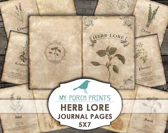 Herb Lore, Journal Pages, 5x7, ephemera, mini album, potion book, scrapbook, printable, vintage, herbology, plant, garden, junk journal kit
