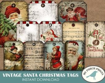 Vintage Santa, Christmas Tags, gift tag, Scrapbook, junk journal, December daily, printable, Night Before Christmas, embellishment, ornament