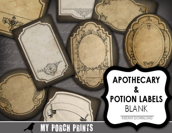 potion labels apothecary label blank wizard steampunk etsy