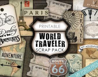 Junk Journal, World Traveler, Map, Road Trip, Travel, Kit, For Men, Masculine, My Porch Prints, Scrap Pack, Printable, Digital Download