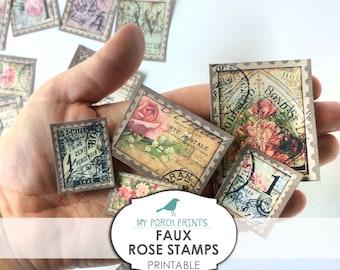 Rose Stamps, Faux, Printable, Junk Journal, Ephemera, Papers, Collage Sheet, My Porch Prints, Scrapbook, Digi Kit, Embellishment, Download