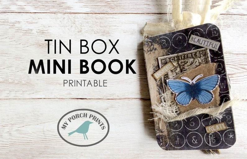 Tin Box Mini Book Junk Journal Kit Printable Ephemera image 0