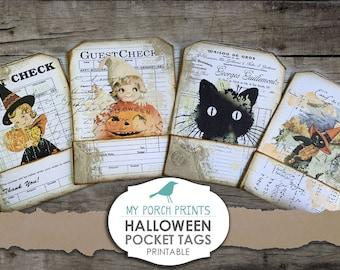 Halloween Pocket Tags, Autumn, Loaded Envelope, Junk Journal Kit, Printable Ephemera, Collage Sheet, Paper, Vintage, Scrapbook, Download