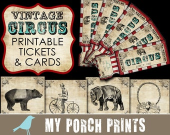 Vintage Circus Tickets, junk journal, circus, birthday, party, boy, cards, ephemera, scrapbook paper, animals, scrapbooking, printable paper
