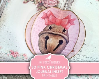 Pink Christmas, 3D Insert, Junk Journal, December Daily, Dimensional, Pop Up, Shabby, Sugar Cookie, Bell, My Porch Prints, Digital Download
