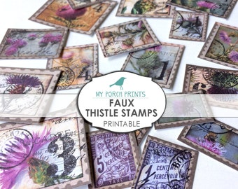 Thistle Stamps, Faux, Junk Journal, Printable, Ephemera, Paper, Collage Sheet, My Porch Prints, Scrapbook, Digi Kit, Embellishment, Download
