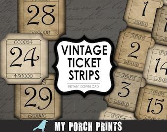Vintage Tickets, numbers, Junk Journal, Strips, men, printable paper, digital, collage sheet, printable,  ephemera, scrapbooking, ATC, tag