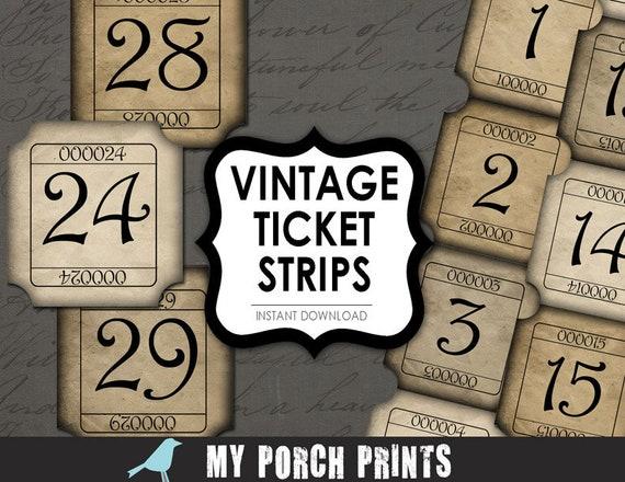 vintage tickets numbers strips scrapbook kit printable etsy