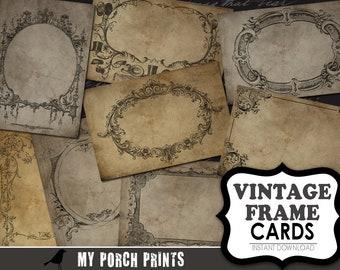 Vintage Frame Cards, scrapbook, ATC, scrapbook paper, jewelry card, jewelry background, steampunk, display, postcard, junk journal, ephemera