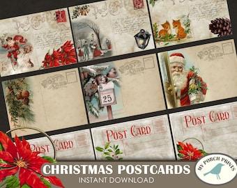 Christmas Postcards, Pocket Letter, ATC, card, Christmas Tags, gift tag, Scrapbook, junk journal, December daily, printable, embellishment