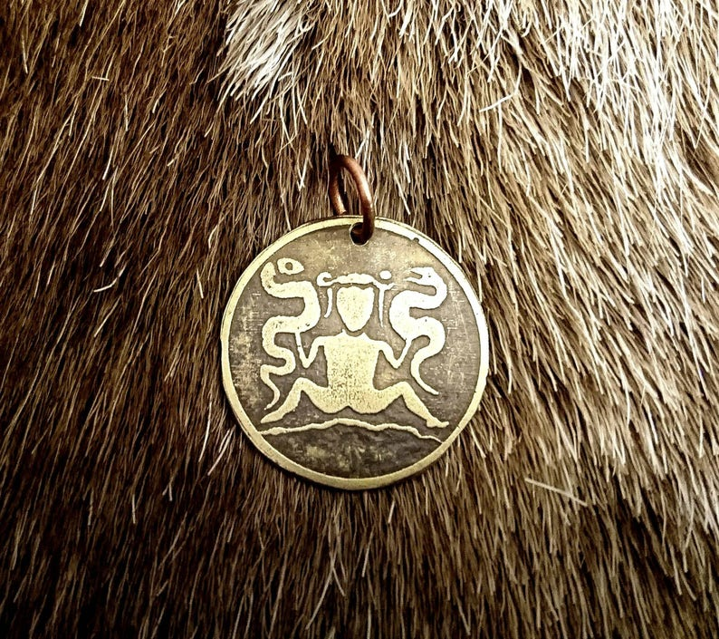 Ormgudinna The Lady of the Beasts snake serpent Norse Goddess Pendant in Copper or Brass Viking, Heathen, Pagan