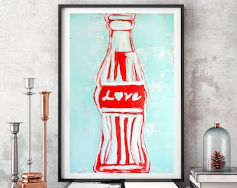 Original Art Prints,Pop Art Prints, Pop Art Painting,Poster Prints,Red Blue Painting,Vintage Inspired painting,Wall Art,Pop Art Canvas Print