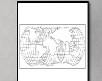 World Map Print, Map Digital Print, World Map Digital Download, Black and White World Map, Wall Art, Minimalist Art, Modern Art, Home Decor