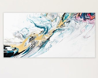 Original Painting, Teal Gold abstract painting,Fluid Painting,Abstract Painting,Flow Painting,15x30 painting,Contemporary Painting, Wall Art
