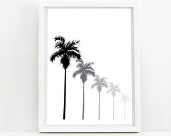 Palm Tree Print, Palm Tree Art, Palm Tree Wall Art, black white print, Ombre Palm Tree Art, Digital Print, Digital Download,Modern Art,Decor