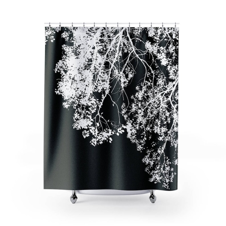 Shower Curtains Black and white shower curtain Tree print image 0