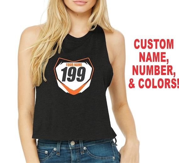 FRONT NUMBER PLATE Womens Crop Tank Top T Shirt Sexy Cute Side Boob Motocross Supercross Dirt Bike Motorcycle Mx Sx Fmx Custom Name # Jersey
