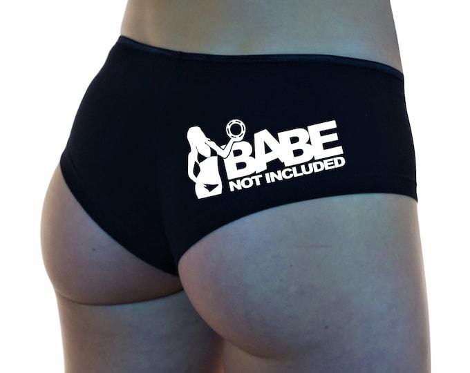 BABE NOT INCLUDED Boyshorts Underwear Panties Boy Shorts Undies White Sexy Hot #BabeNotIncluded Instagram Promo Model Girl Sprocket Logo