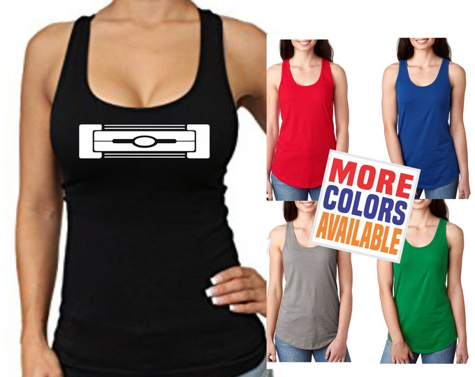 SUPER DUTY GRILL Black Tank Top Racerback Shirt Ford Truck Off Road Lifted F250 F350 F450 Wife Chick Womens Headlight Boobs Funny Gift