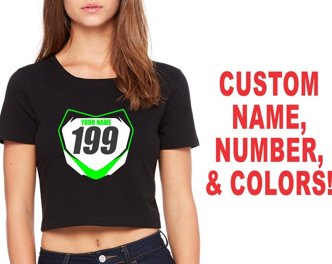 FRONT NUMBER PLATE Womens Crop Top T Shirt Baby Belly Tee Sexy Cute Motocross Supercross Dirt Bike Motorcycle Mx Sx Fmx Custom Name # Jersey