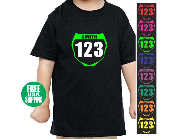 MOTOCROSS NUMBER PLATE Toddler T Shirt Tee Infant Kid Baby Shower Birthday Gift Front Name Mx Racing Custom Jersey Dirt Bike Atv Quad Racer