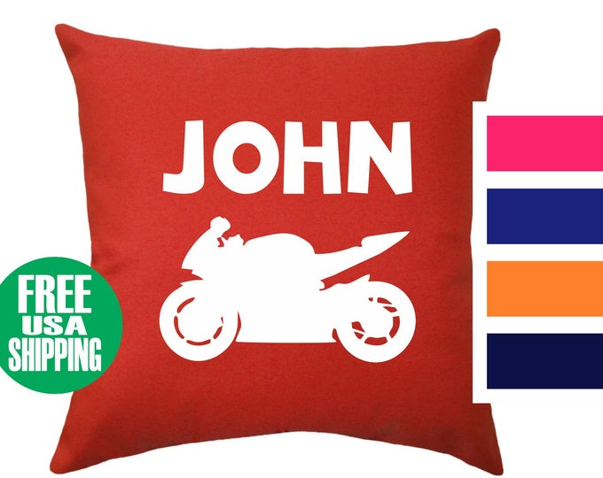 SPORT BIKE NAME Pillow Cover Throw Bed Couch Sofa Infant Nursery Kid Room Baby Shower Birthday Gift Street Motorcycle Crotch Rocket Boy Girl