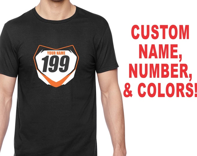 FRONT NUMBER PLATE T Shirt Tee Motocross Supercross Dirt Bike Motorcycle Vintage Mx Sx Fmx Flat Track Custom Name # Jersey Tee Dad Mom Gift