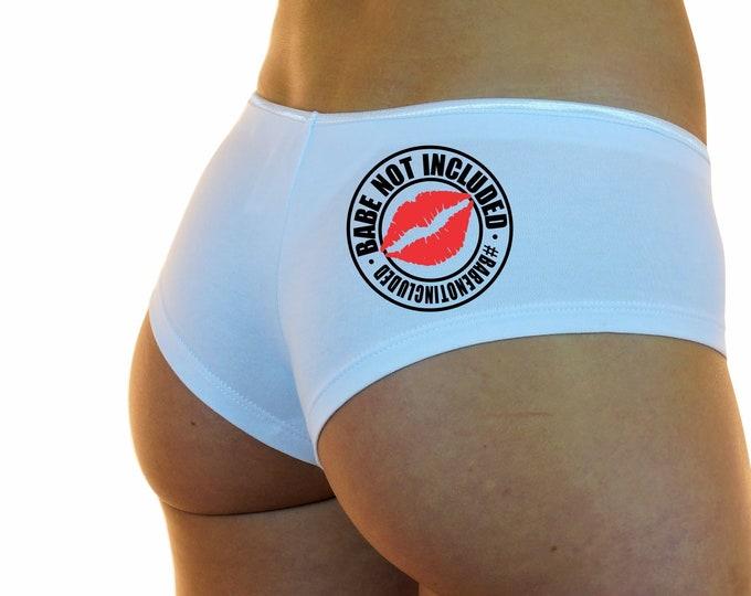 BABE NOT INCLUDED Lips Boyshorts Underwear Panties Boy Shorts Undies White Sexy Hot #BabeNotIncluded Instagram Promo Model Free Usa Shipping