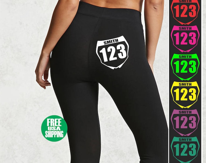 MOTOCROSS LEGGINGS Black Pant Workout Yoga Gym Custom Front Number Plate Name Sexy Booty Butt Ass Girl Babe Wife Dirt Bike Mx Fmx Flat Track