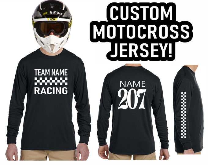CUSTOM MOTOCROSS JERSEY Vintage Style Checkered Flag Logo Long Sleeve T Shirt Mx Fmx Hooligan Racing Racer Retro Personalized Name Number