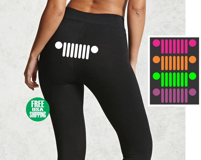 JEEP GRILL LEGGINGS Black Pants Workout Yoga Gym Custom Cj Tj Jk Grille Headlights Sexy Cute Funny Booty Butt Ass Wrangler Girl Babe Wife