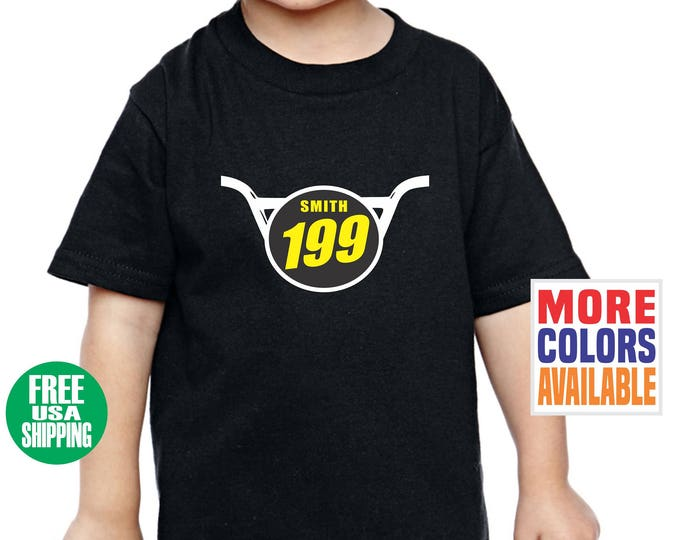BMX NUMBER PLATE Toddler T Shirt Tee Infant Kid Baby Shower Birthday Gift Front Name Bicycle Motocross Bike Mx Racing Racer Custom Jersey