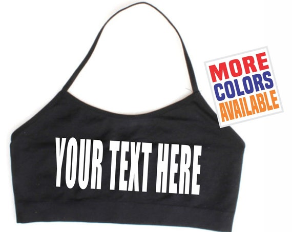 YOUR TEXT HERE Halter Bandeau Tube Crop Top Boob Cover Bra Sports Gym Sexy Yoga Fitness Custom Printed Print Personalized Customized Gift