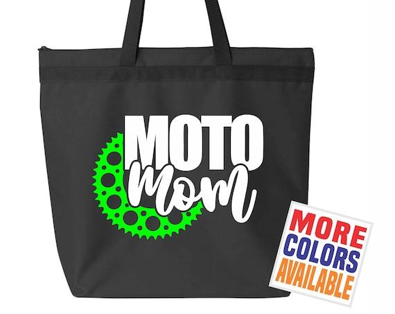 MOTO MOM Tote Bag Purse Gym Workout Work Straps Black Gear Travel Book Tablet Dirt Bike Motocross Mx Flat Track Racing Racer Gift Kid Mommy