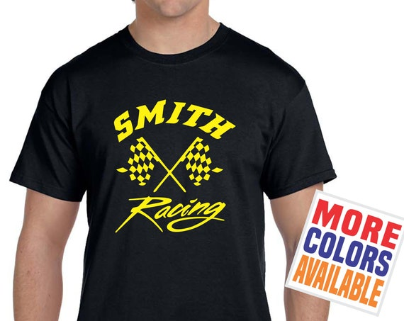 LAST NAME RACING T Shirt Men's Unisex Tee Custom Personalized Family Dad Wife Mom Gift Motocross Flat Dirt Track Motorcycle Drag Racer Car