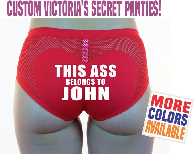 This Ass Belongs To Name Victoria's Secret Boyshorts Underwear Panties Boy Shorts Sexy Heart Custom Personalized Wife Valentine's Day Gift