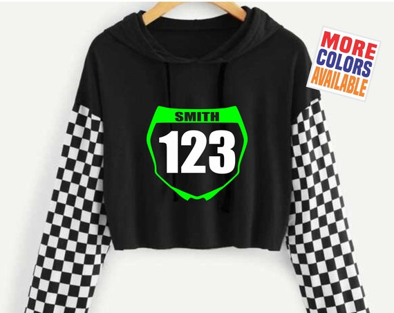 MOTOCROSS NUMBER PLATE Crop Top Hoodie Black Pullover Hooded Checkered Sleeve Custom Personalized Front Name Dirt Bike Motorcycle Mx Sx Sexy