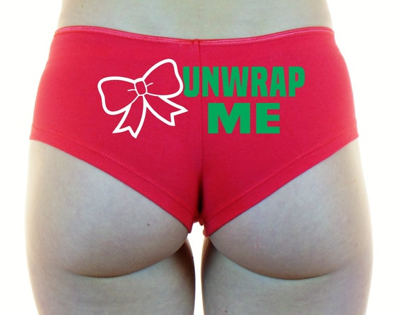 UNWRAP ME Boyshorts Panties Underwear Booty Shorts Sexy Ass Butt Red White Santa Mrs Claus Merry Xmas X-Mas Naughty List Bad Wife Gift Bow