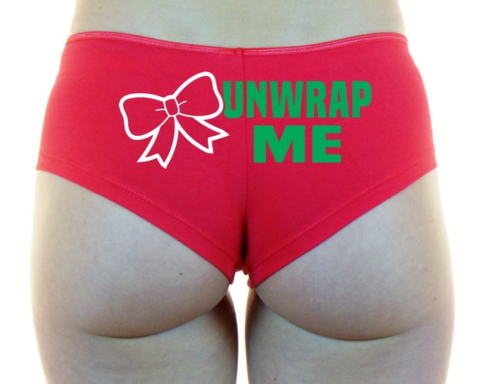UNWRAP ME Boyshorts Panties Underwear Booty Shorts Sexy Ass Butt Red White Santa Mrs Claus Merry Xmas X-Mas Naughty List Bad Wife Gift Bow