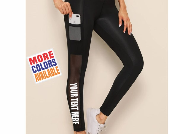 CUSTOM LEGGINGS Black Mesh Active Pants Pockets Workout Yoga Gym Lower Side Leg Your Text Here Personalized Customized Printed Sexy Sheer