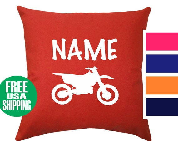 DIRT BIKE NAME Pillow Cover Throw Bed Couch Sofa Infant Nursery Kid Room Baby Shower Birthday Gift Motocross Mx Motorcycle Off Road Boy Girl