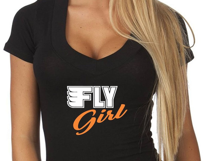 FLY GIRL T Shirt Womens V Neck Tee Girl Boobs Sexy Cute Flyers Hockey Mom Wife Girl Fan Cleavage Jersey Philadelphia Philly Custom Logo