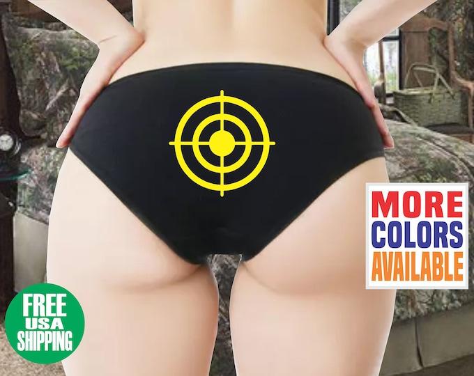 BULLYSEYE BOYSHORTS Black Panties Underwear Booty Shorts Sexy Ass Butt Hunting Shooting Hunter Girl Wife Christmas Girlfriend Husband Gift