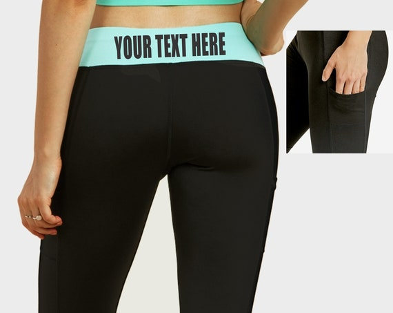 CUSTOM LEGGINGS Black w/ Mint Band Active Pants Pockets Workout Yoga Gym Leg Your Text Here Personalized Customized Printed Sexy Team Logo