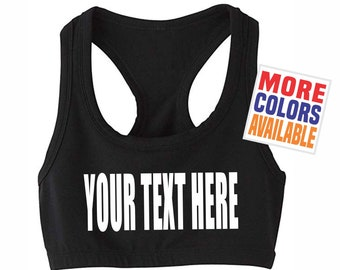 0a8d532d0cfce YOUR TEXT HERE Sports Bra Crop Boob Tube Strap Sexy Gym Workout Yoga Top  Hot Fit Wife Gift Party Customized Custom Print Personalized Words